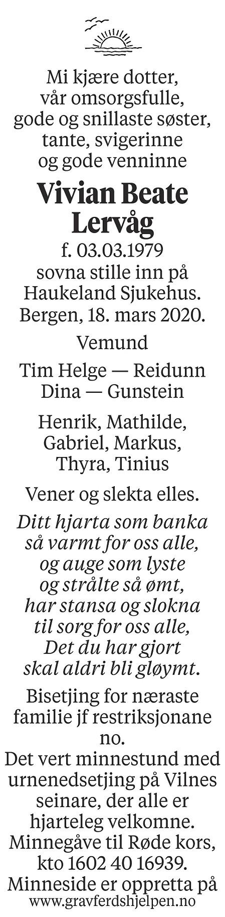 Vivian Beate Lervåg Dødsannonse