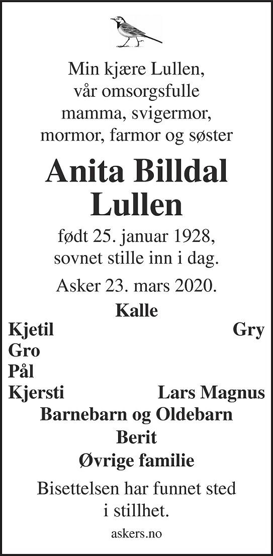 Anita Billdal Dødsannonse