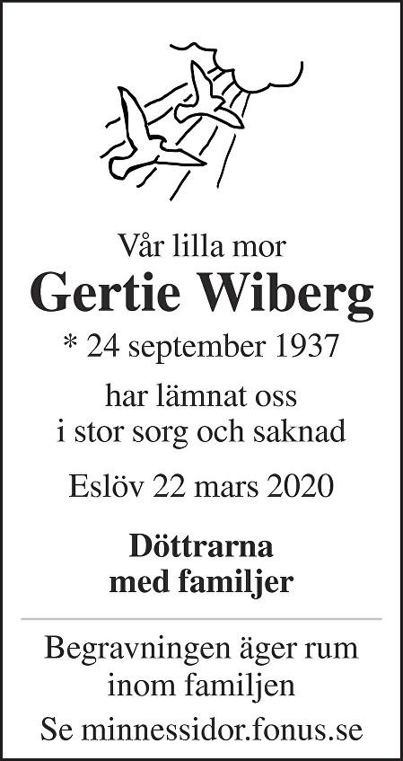 Gertie Wiberg Death notice