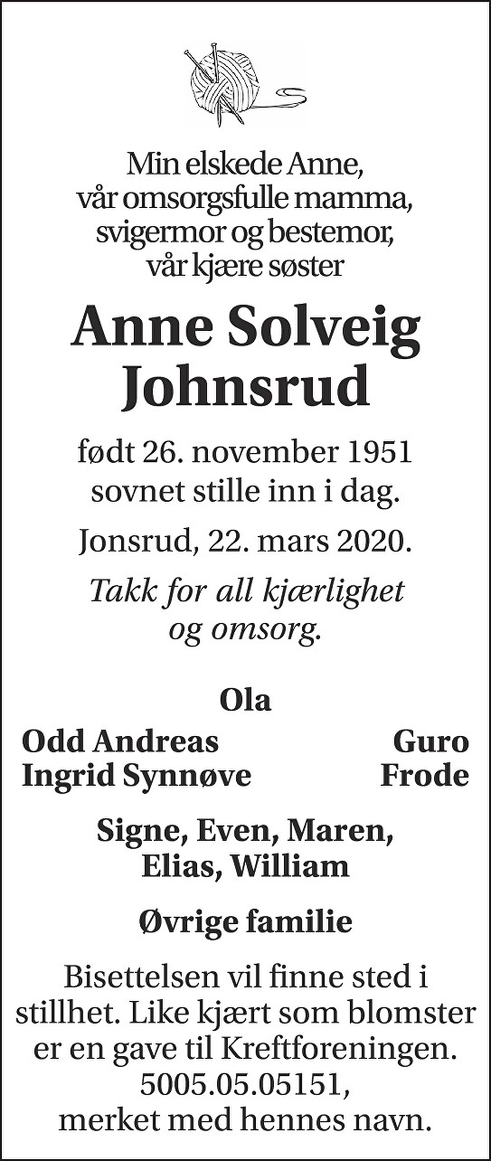 Anne Solveig Johnsrud Dødsannonse