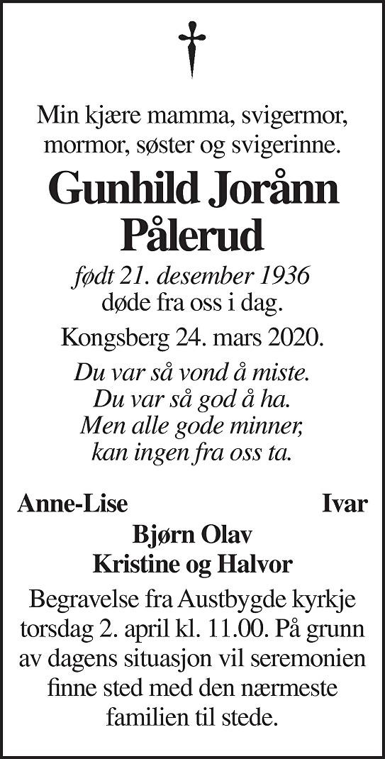 Gunhild Jorånn Pålerud Dødsannonse