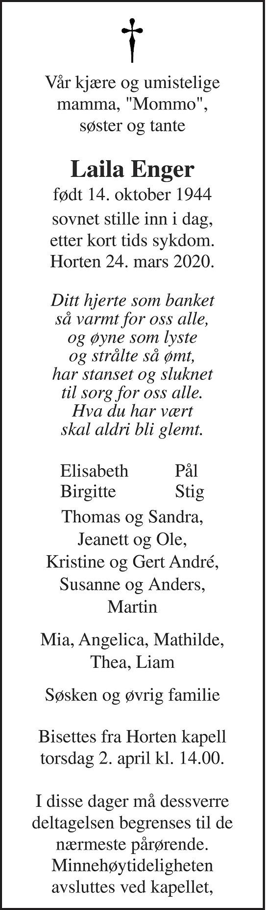 Laila Enger Dødsannonse