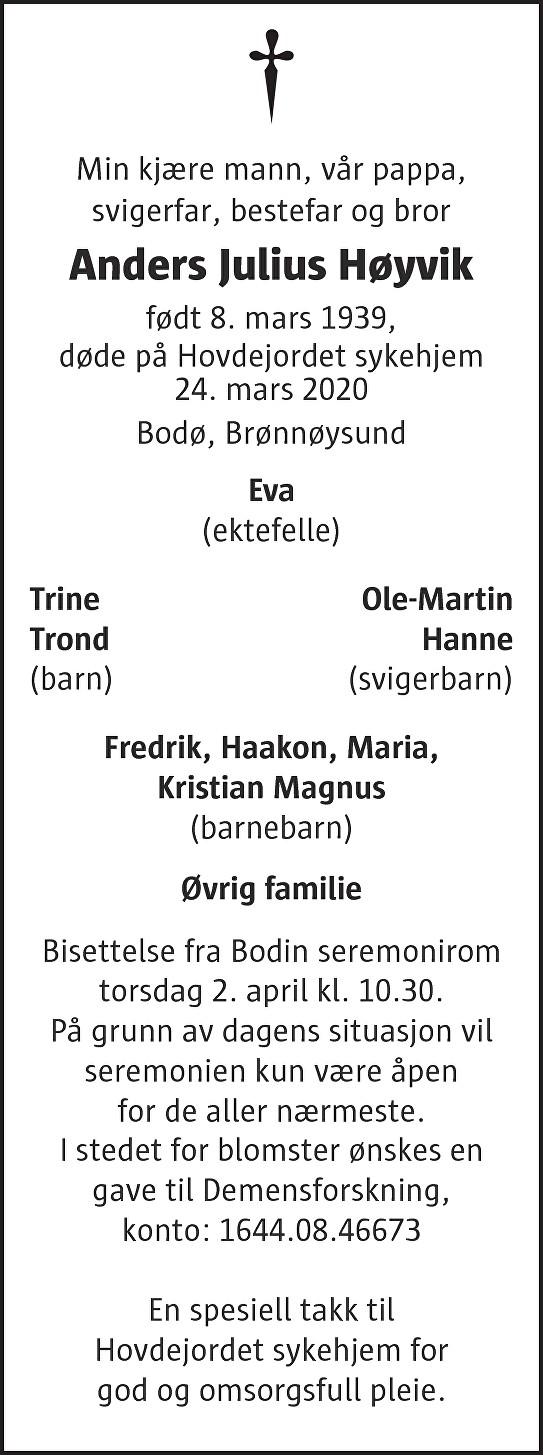 Anders Julius Høyvik Dødsannonse