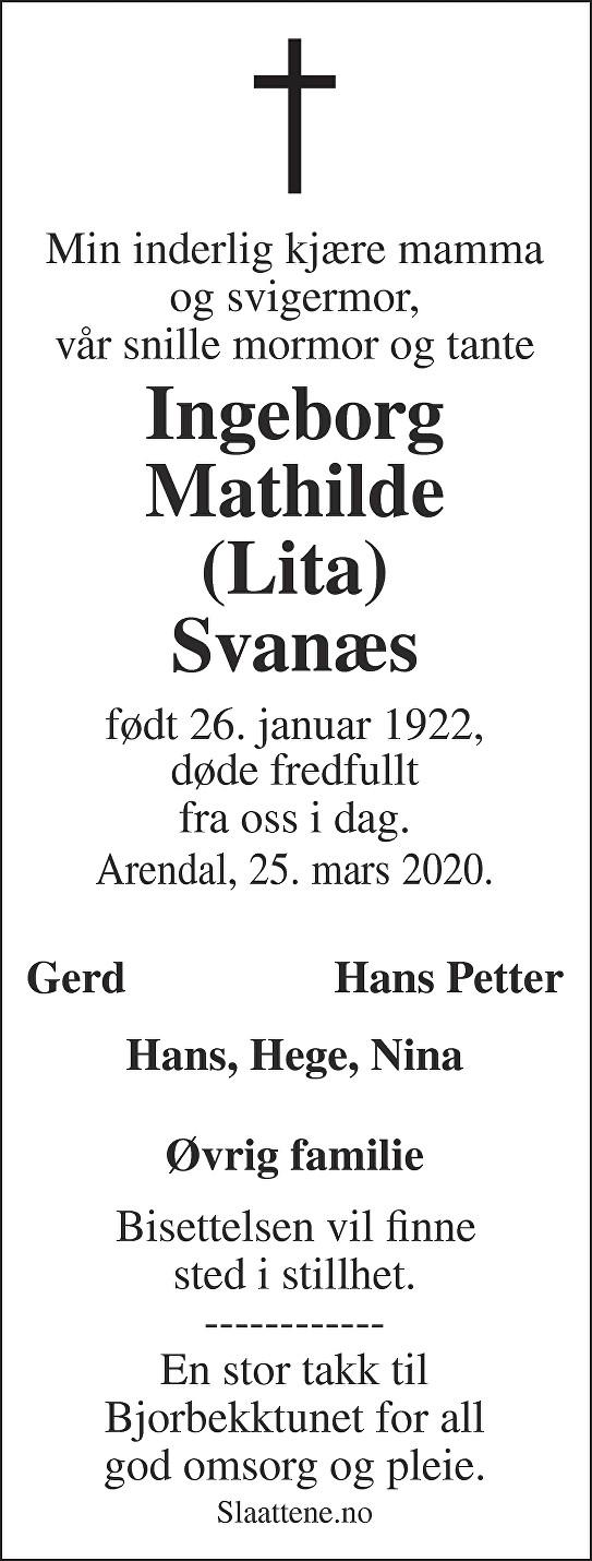 Ingeborg Mathilde Svanæs Dødsannonse