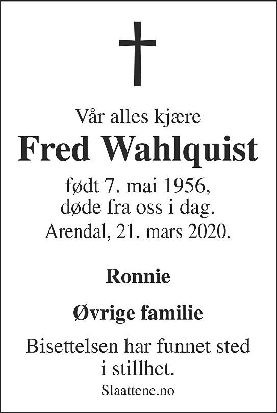 Fred Wahlquist Dødsannonse