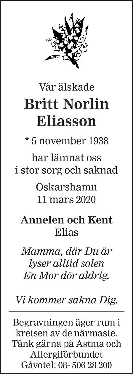 Britt Norlin Eliasson Death notice