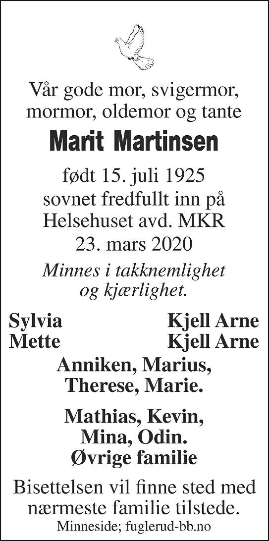 Marit Martinsen Dødsannonse