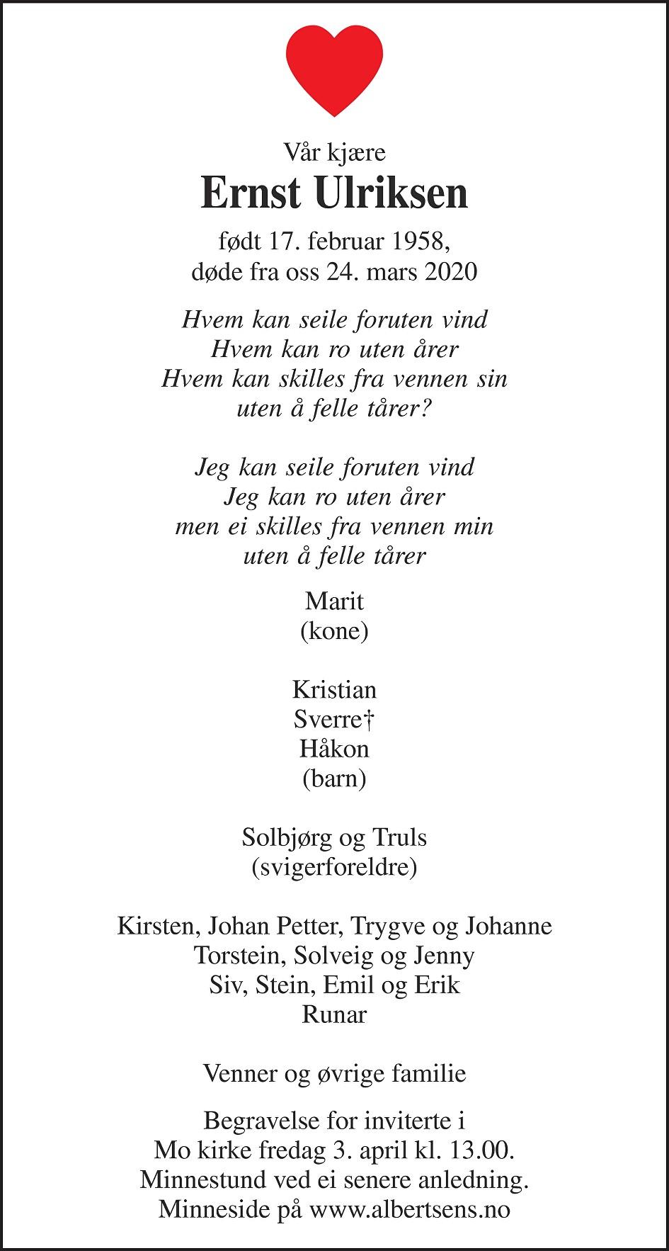 Ernst Kristian Ulriksen Dødsannonse