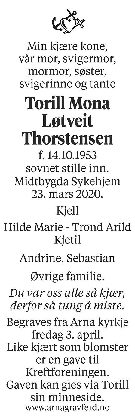 Torill Mona Løtveit Thorstensen Dødsannonse