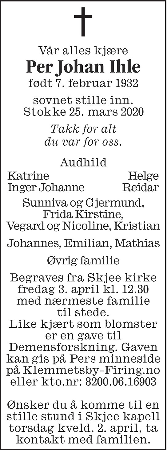 Per Johan Ihle Dødsannonse