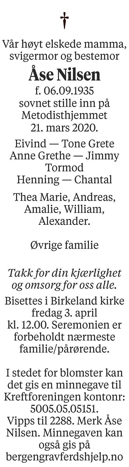 Åse  Nilsen Dødsannonse