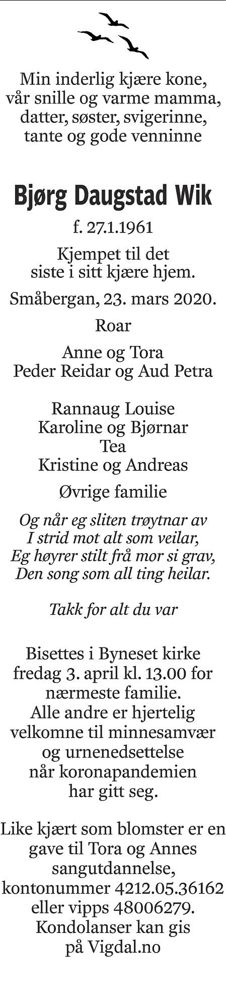 Bjørg Daugstad Wik Dødsannonse