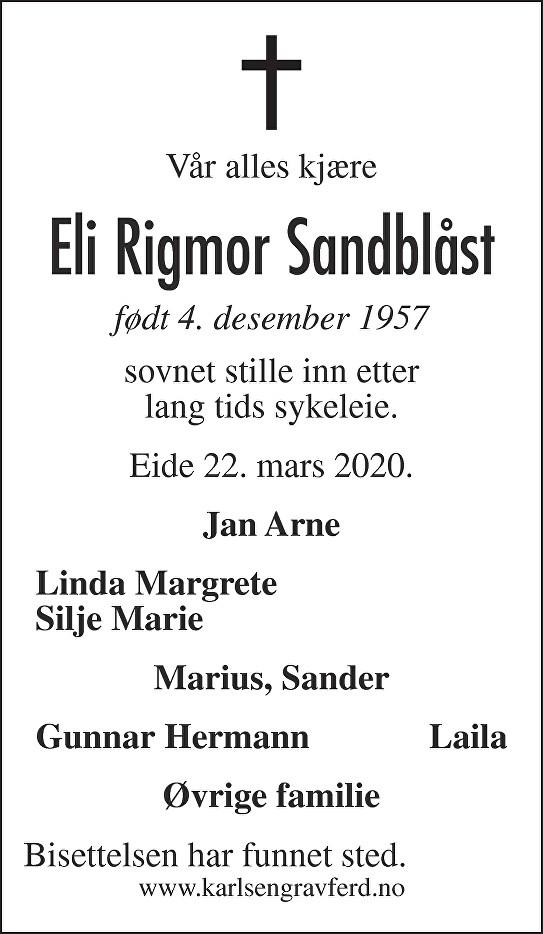 Eli Rigmor  Sandblåst Dødsannonse