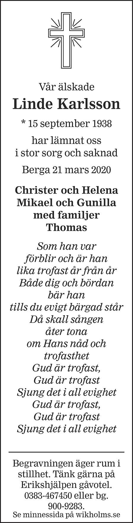 Linde Karlsson Death notice