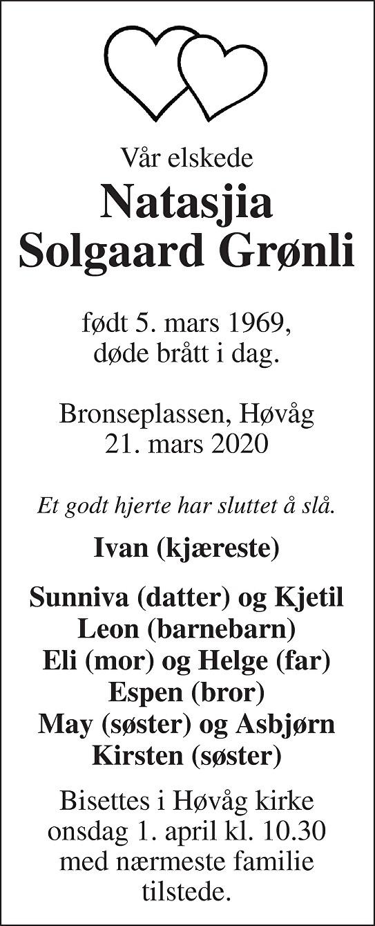 Natasjia Solgaard Grønli Dødsannonse
