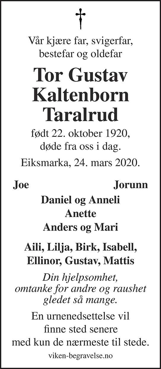 Tor Gustav Taralrud Dødsannonse