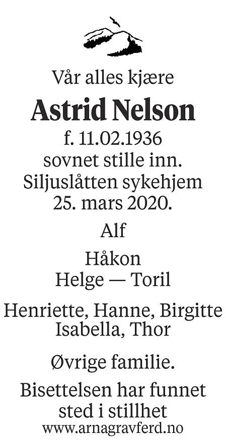 Astrid Alvilde Nelson Dødsannonse