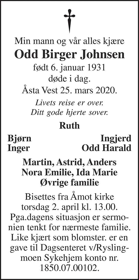Odd Birger Johnsen Dødsannonse