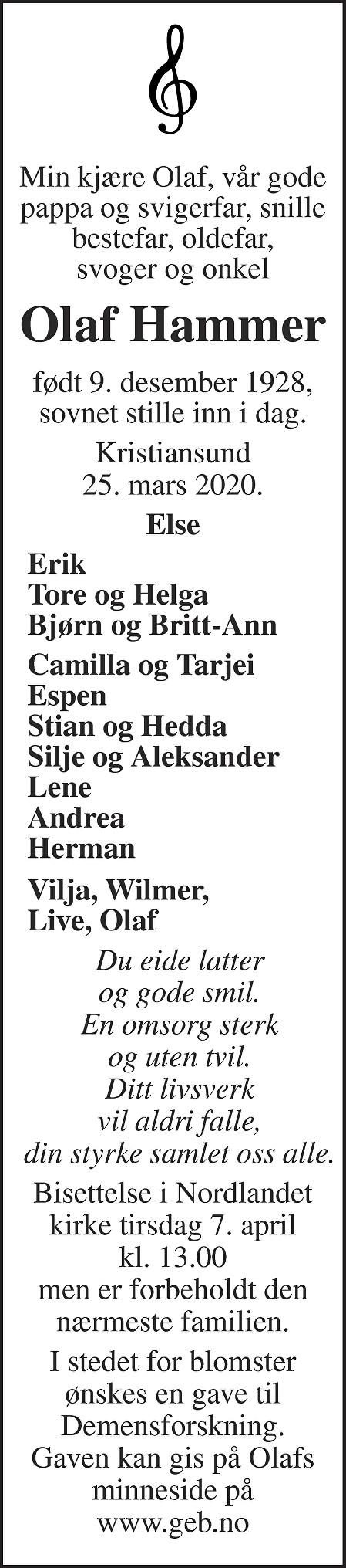 Olaf Arvid Hammer Dødsannonse