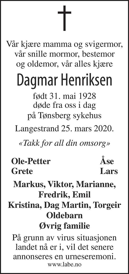 Dagmar Henriksen Dødsannonse