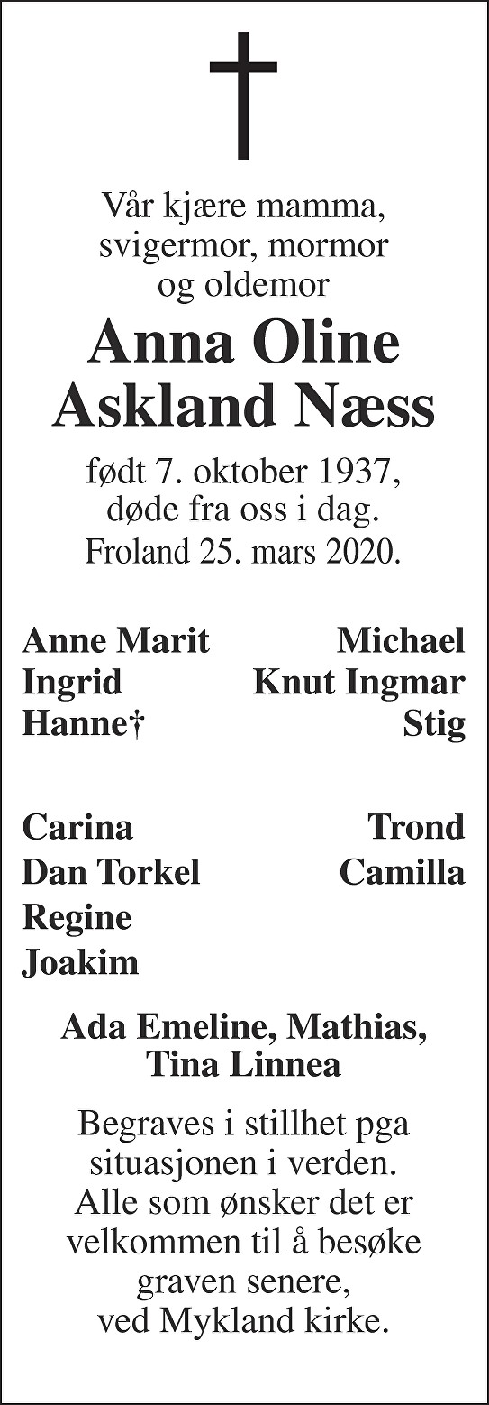 Anna Oline Askland Næss Dødsannonse