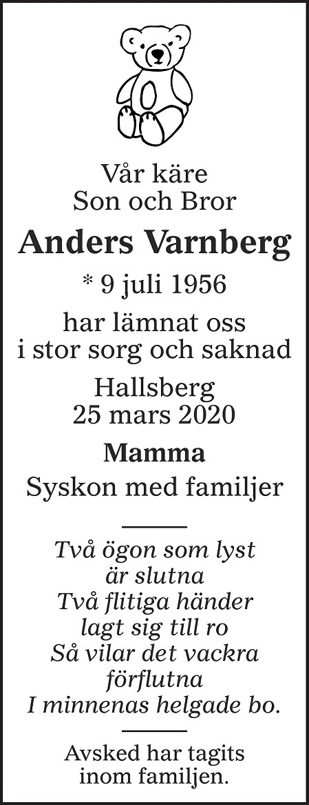 Anders Varnberg Death notice