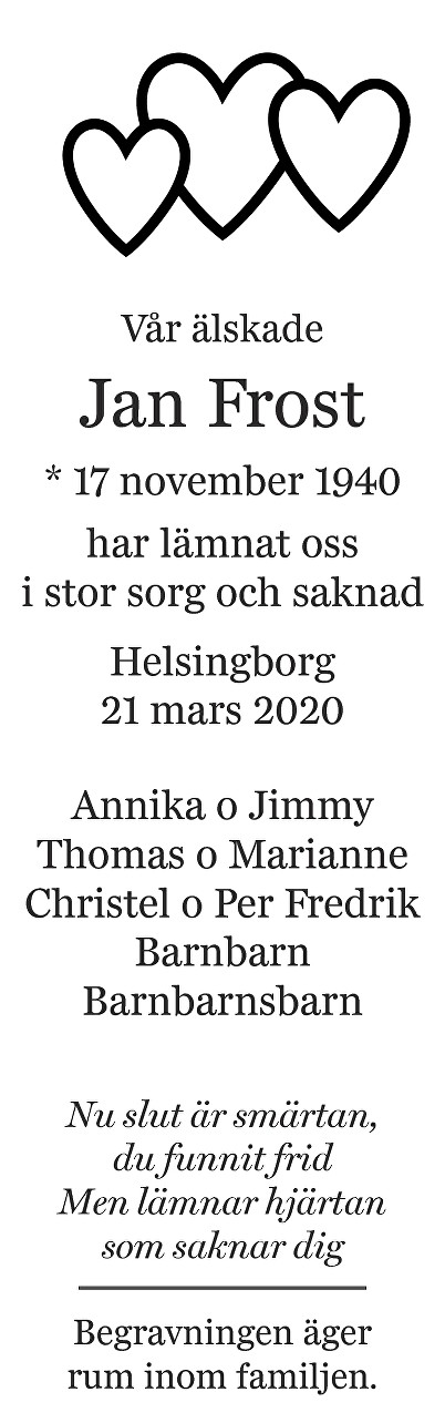 Jan Frost Death notice
