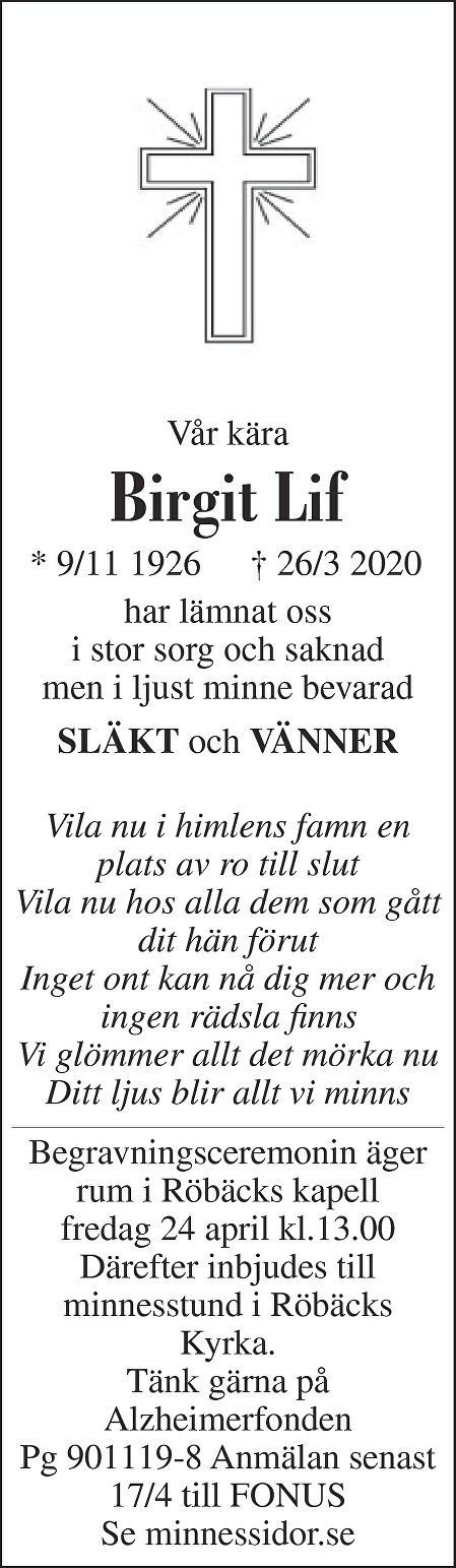 Birgit Maria Lif Death notice
