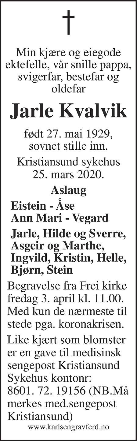 Jarle Kvalvik Dødsannonse
