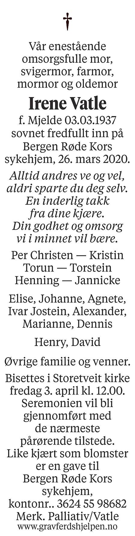 Irene Vatle Dødsannonse