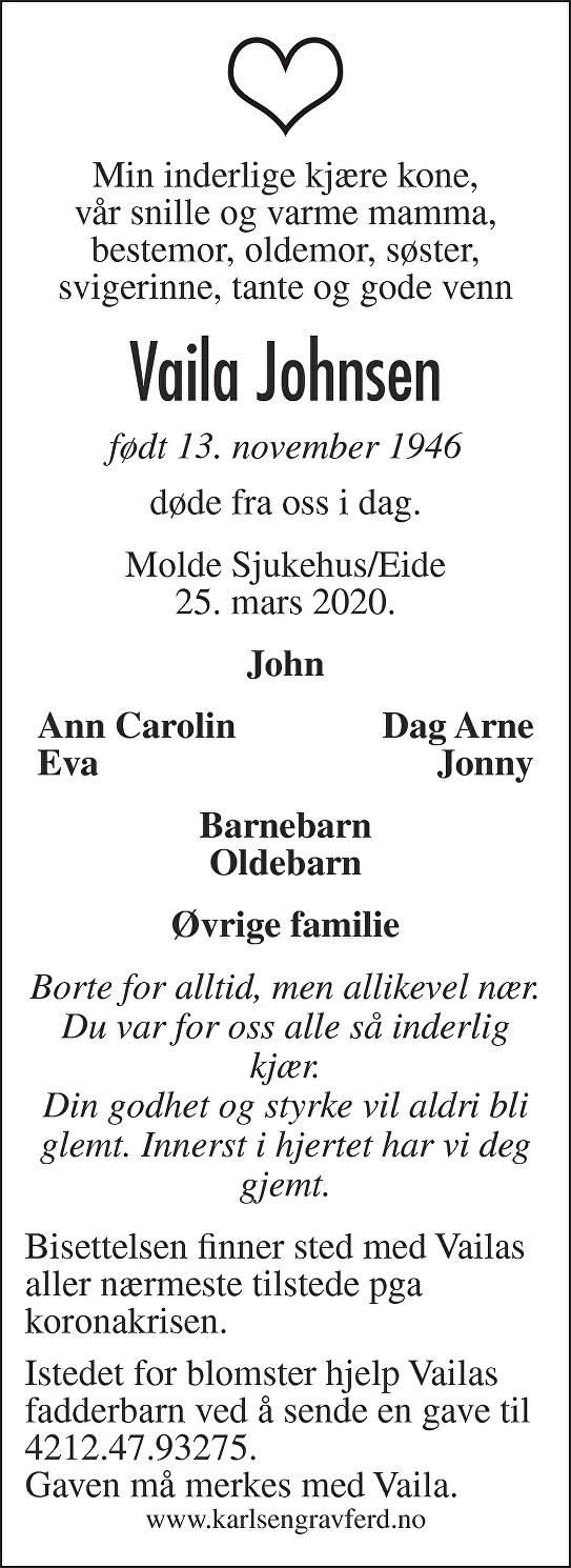 Vaila  Johnsen Dødsannonse
