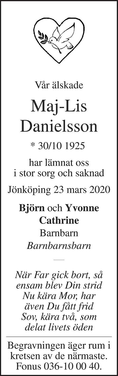 Maj-Lis Danielsson Death notice