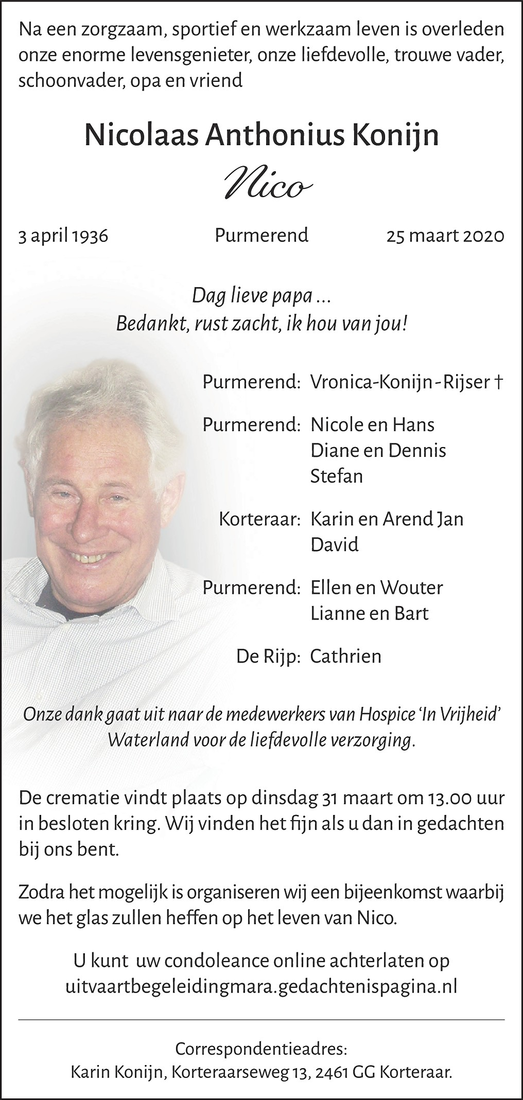 Nico  Konijn Death notice