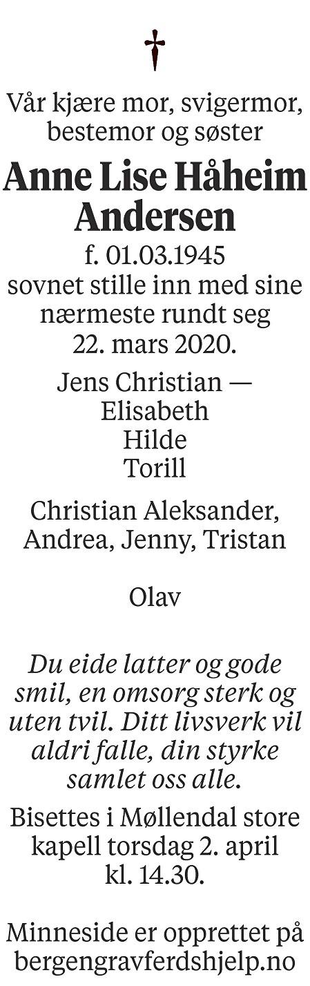 Anne Lise Håheim Andersen Dødsannonse