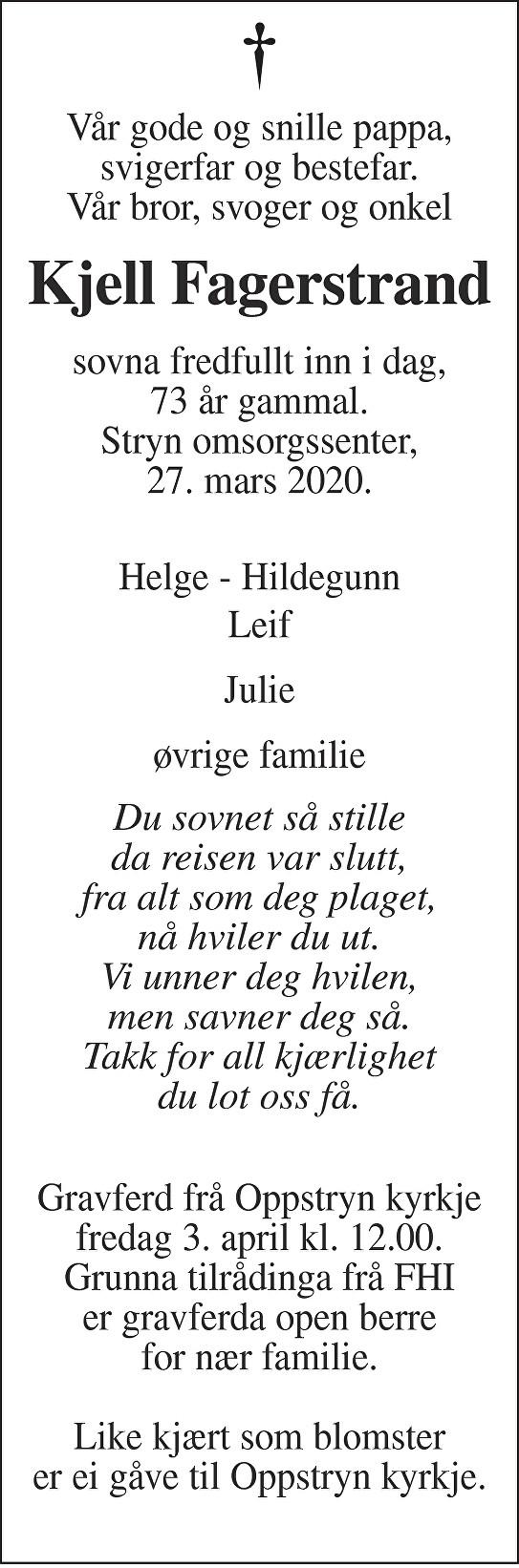 Kjell Fagerstrand Dødsannonse