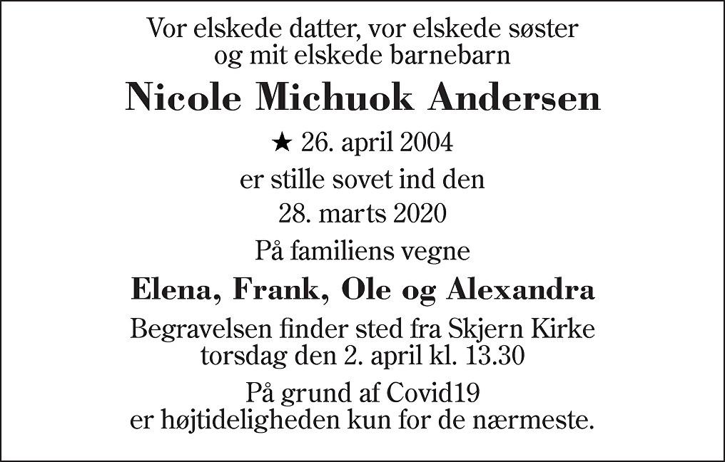 Nicole Michuok  Andersen Death notice