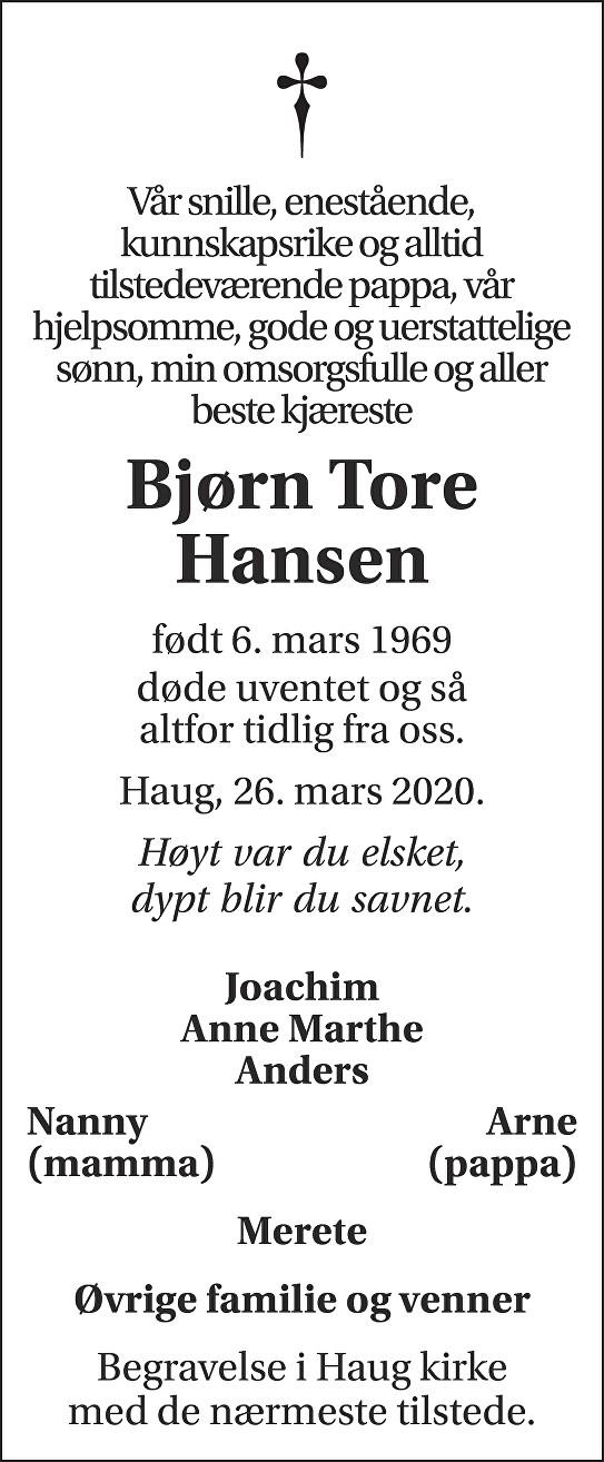 Bjørn Tore Hansen Dødsannonse