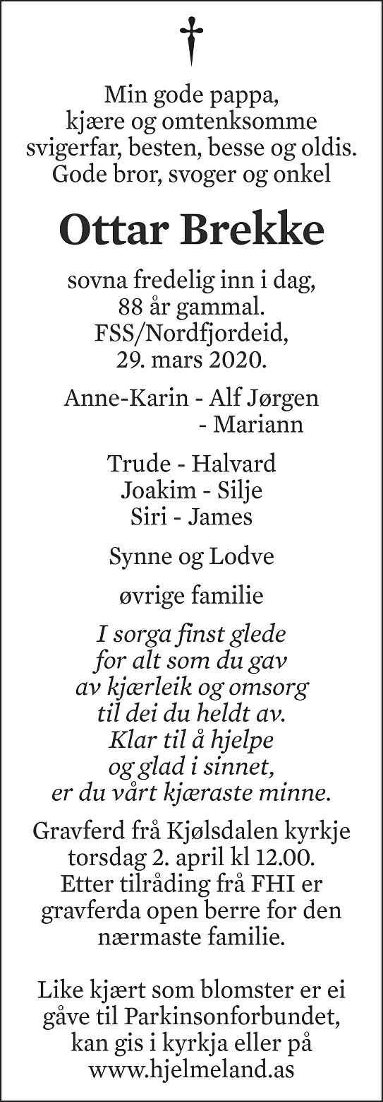Ottar Brekke Dødsannonse