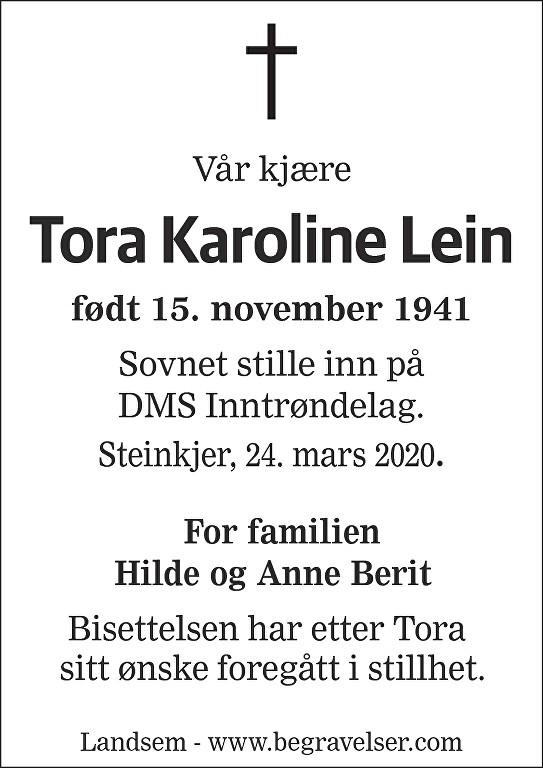 Tora Karoline Lein Dødsannonse