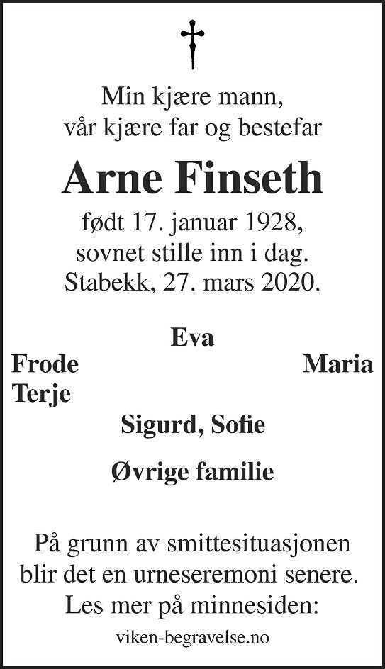 Arne Finseth Dødsannonse