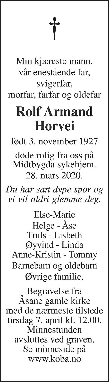 Rolf Armand Horvei Dødsannonse