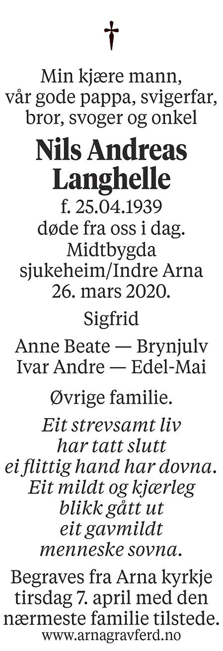 Nils Andreas Langhelle Dødsannonse