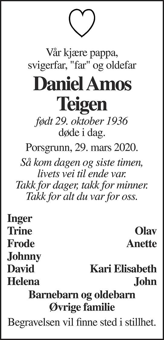 Daniel Amos Teigen Dødsannonse