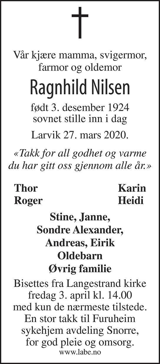 Ragnhild Nilsen Dødsannonse
