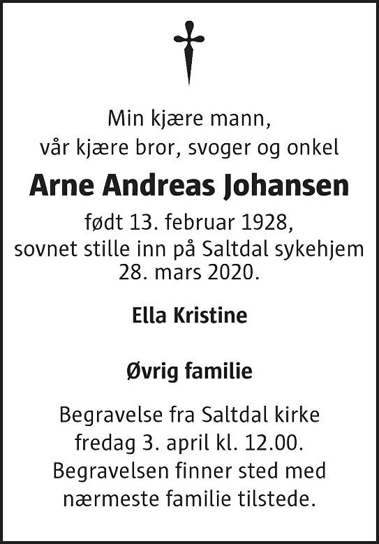 Arne Andreas Johansen Dødsannonse