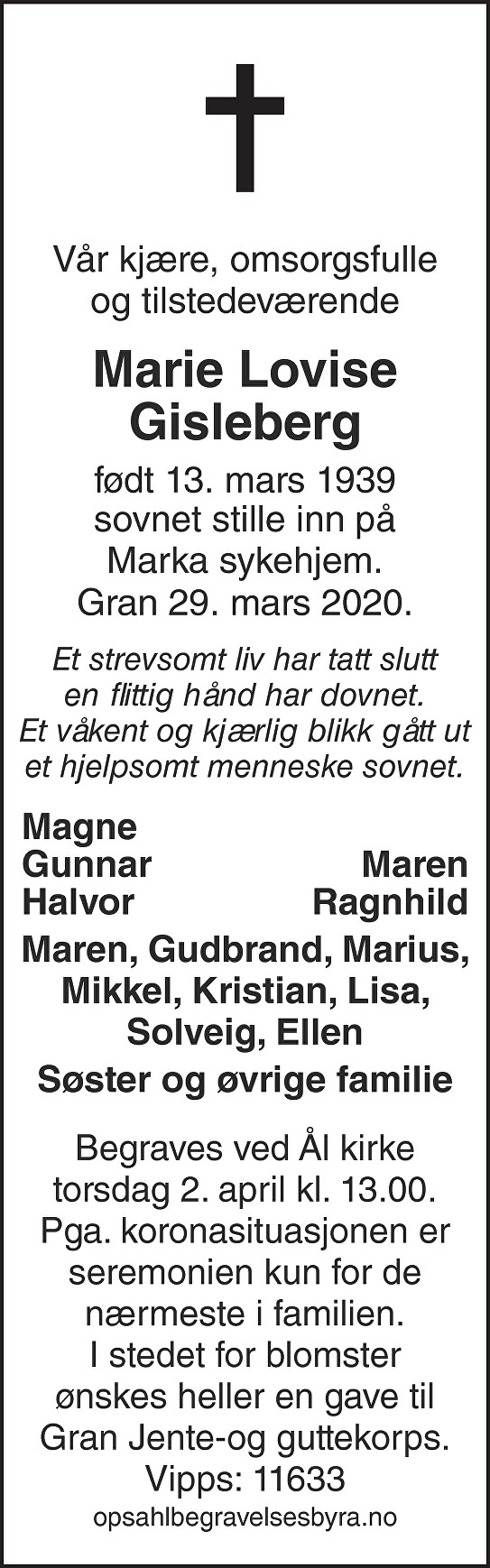 Marie Lovise Gisleberg Dødsannonse