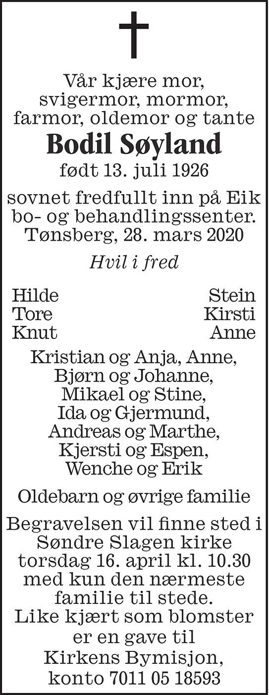 Bodil Søyland Dødsannonse