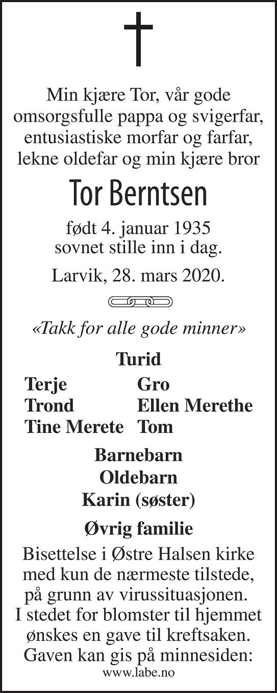 Tor Berntsen Dødsannonse