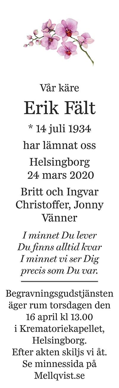 Erik Fält Death notice
