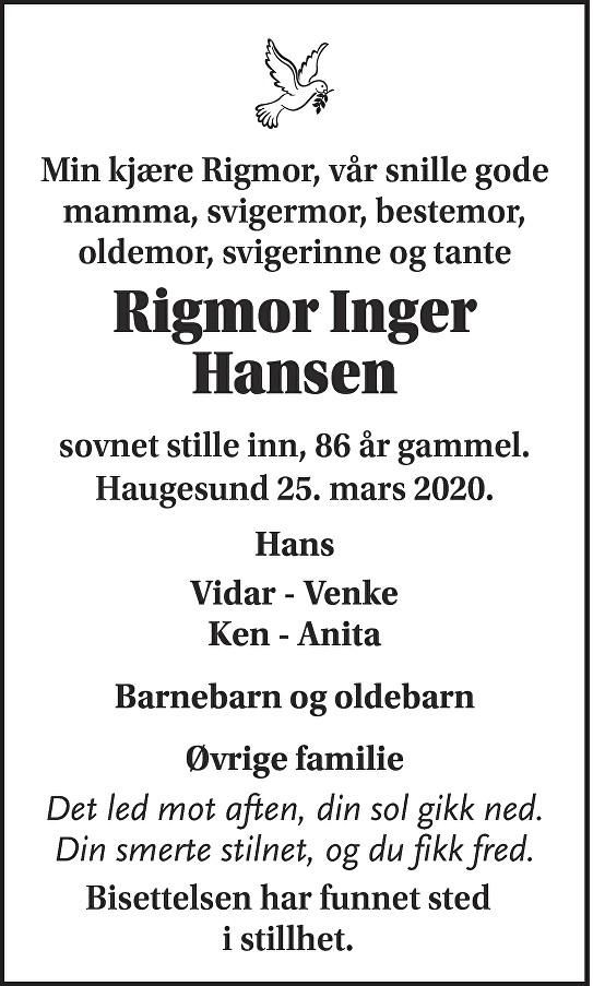 Rigmor Inger Hansen Dødsannonse